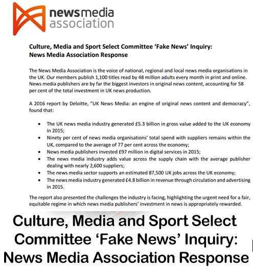 Culture, Media and Sport Select Committee 'Fake News' Inquiry: News Media Association Response